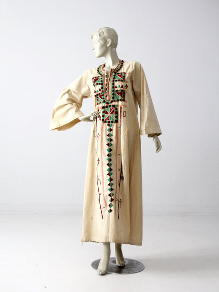 vintage kurta, long embroidered tunic dress