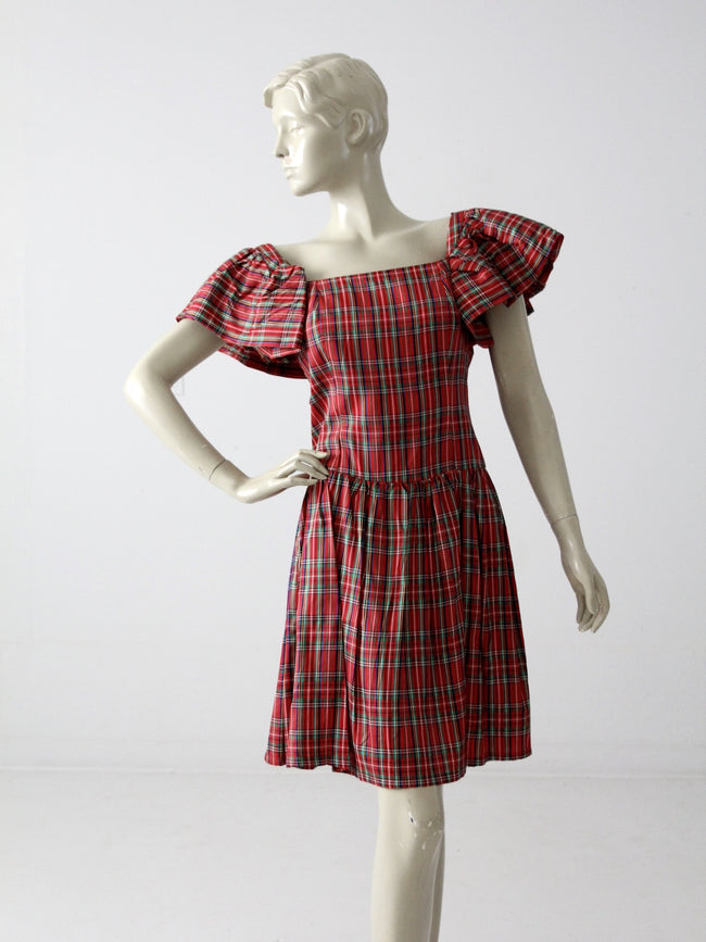 vintage 60s plaid taffeta party dress