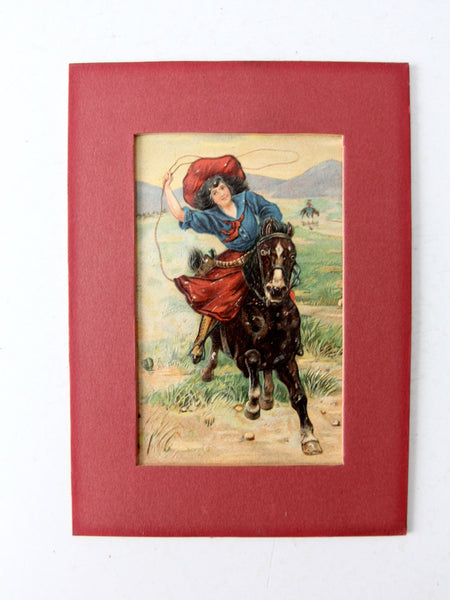 antique 1900s cowgirl postcard