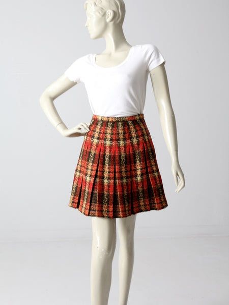 vintage 1960s plaid mini skirt
