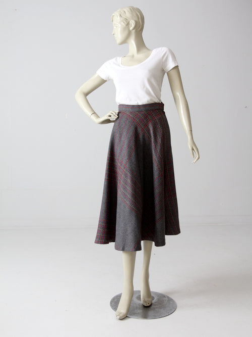 vintage 70s plaid wool skirt