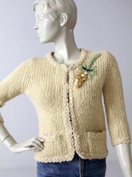 vintage 50s wool cardigan with velvet appliqué
