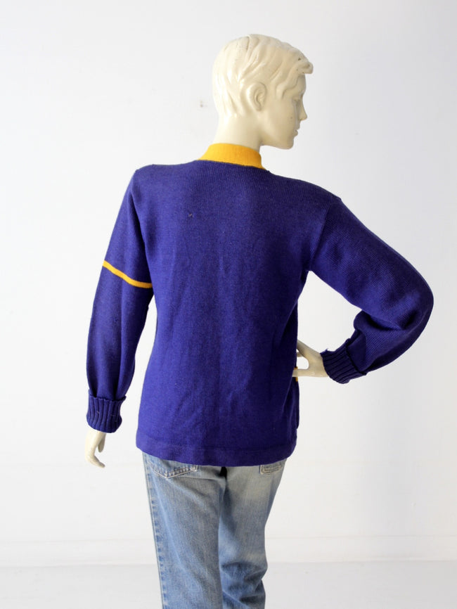 vintage 1950s school cheerleading cardigan sweater