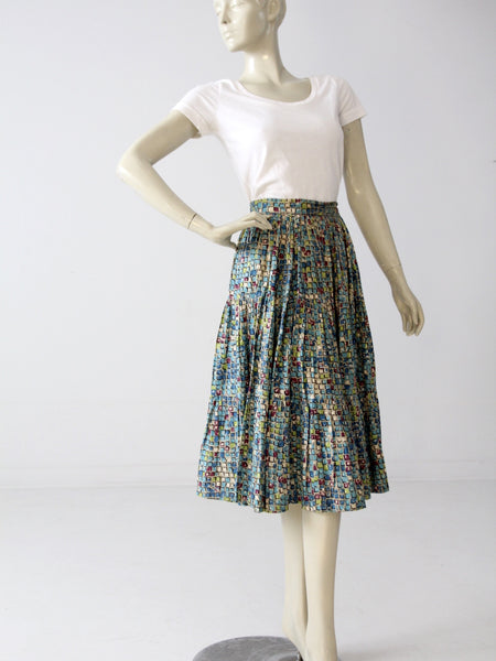 vintage 50s circle skirt with geometric print