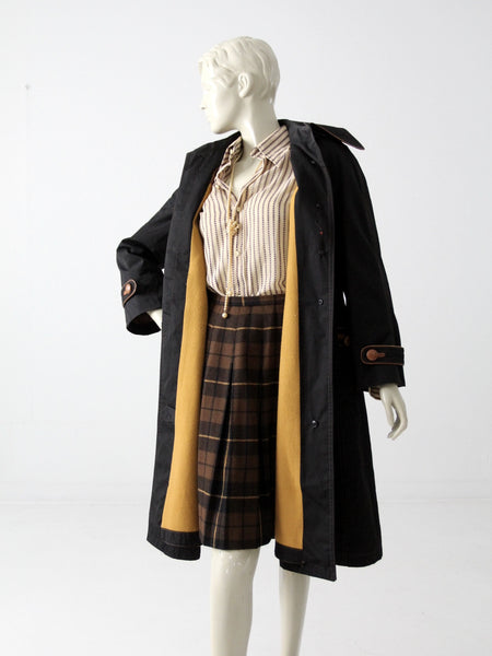 vintage Cortefiel black and tan trench coat