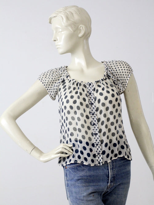 vintage sheer polka dot blouse