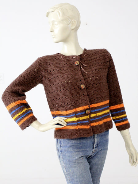vintage 70s crotchet cardigan sweater