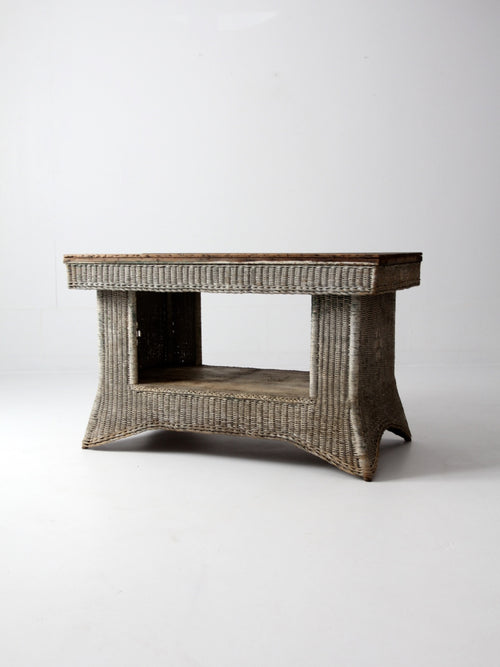 antique wicker library table