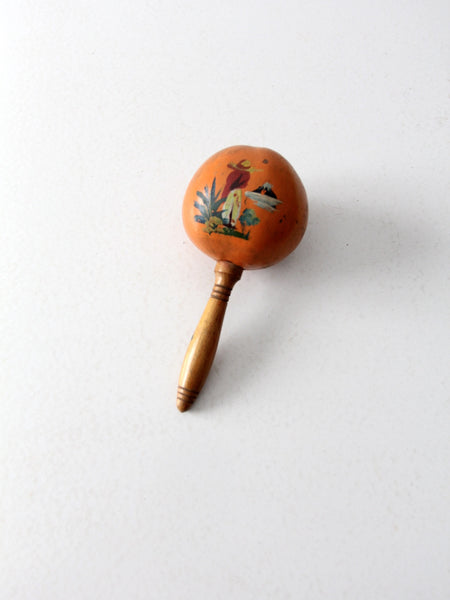 vintage hand-painted Mexican maracas pair