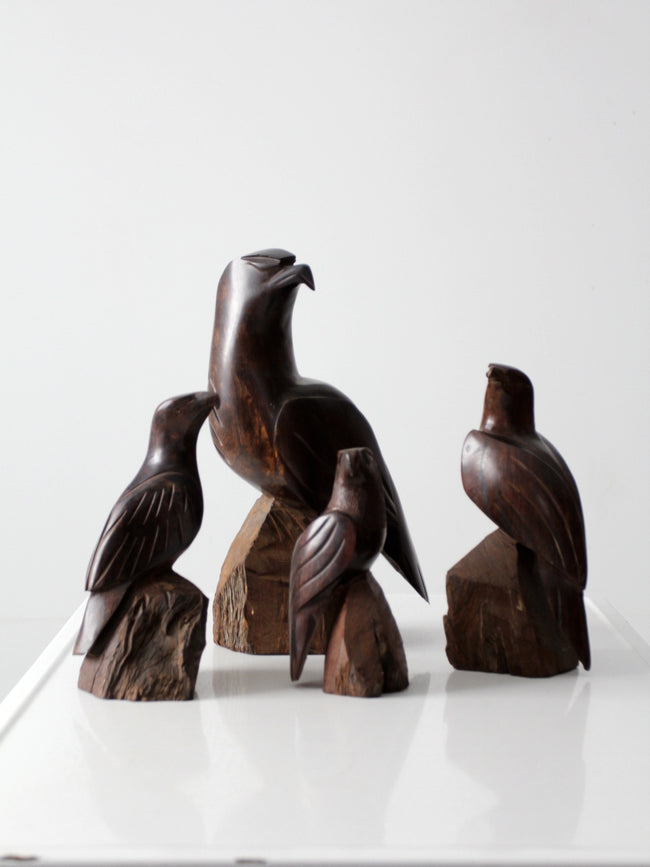 vintage wood eagle statues