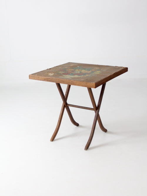 vintage wood folding table with floral top