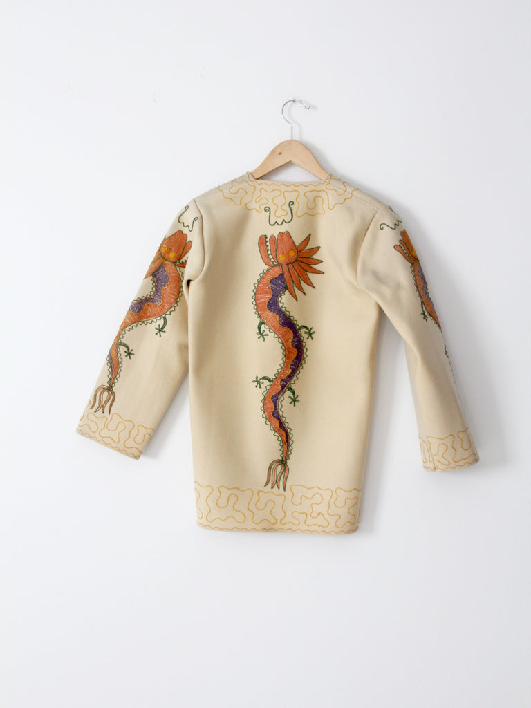 vintage 40s embroidered dragon wool tourist jacket