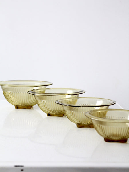 Federal Glass Co. mixing bowl set of 4 amber glass bowls circa 1930