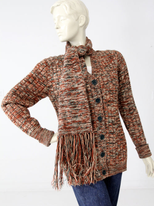 vintage 70s cardigan with attached scarf