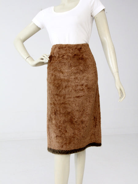 vintage 70s white wrap skirt