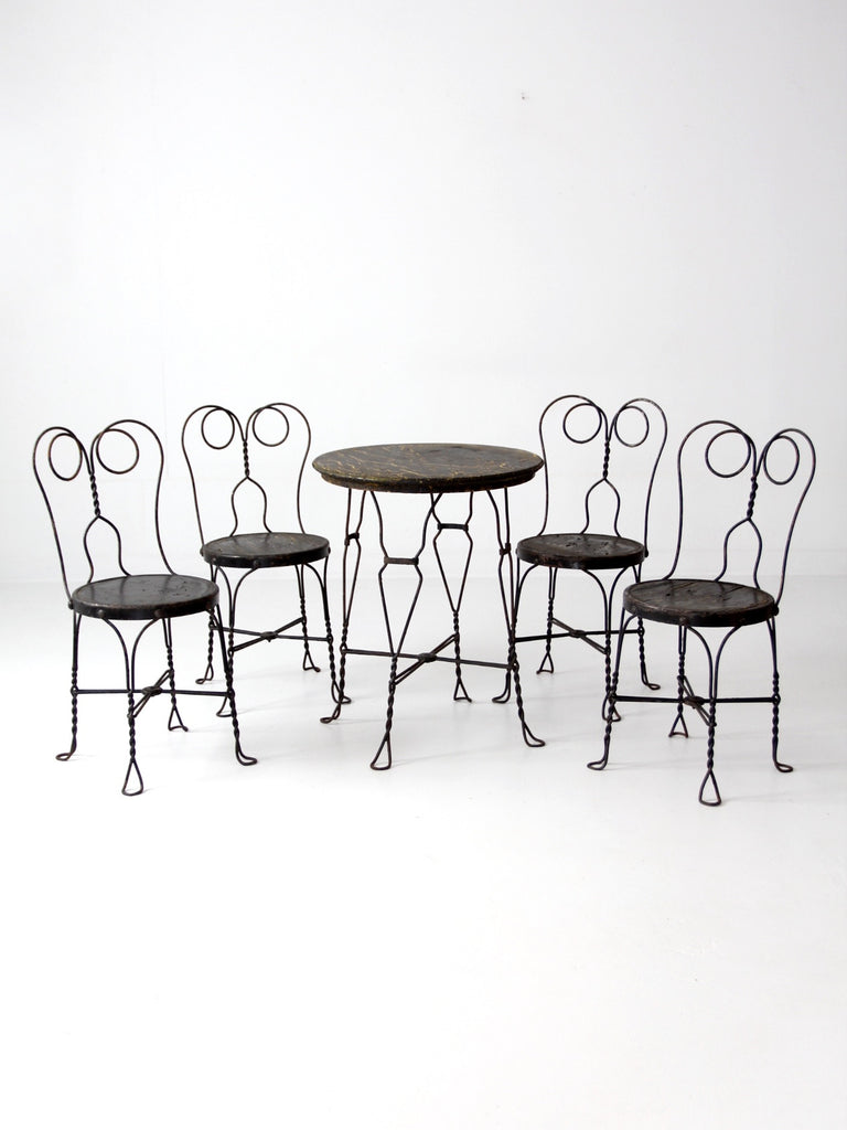 Vintage Ice Cream Parlor Table And Chairs Set