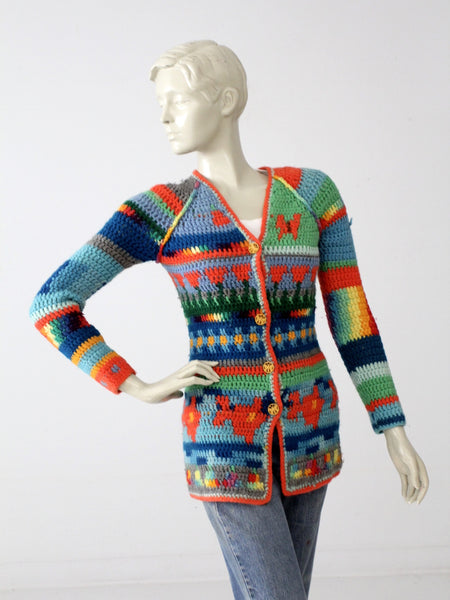 vintage hand-knit cardigan sweater