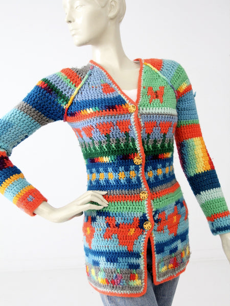vintage 70s crotchet cardigan hippie sweater