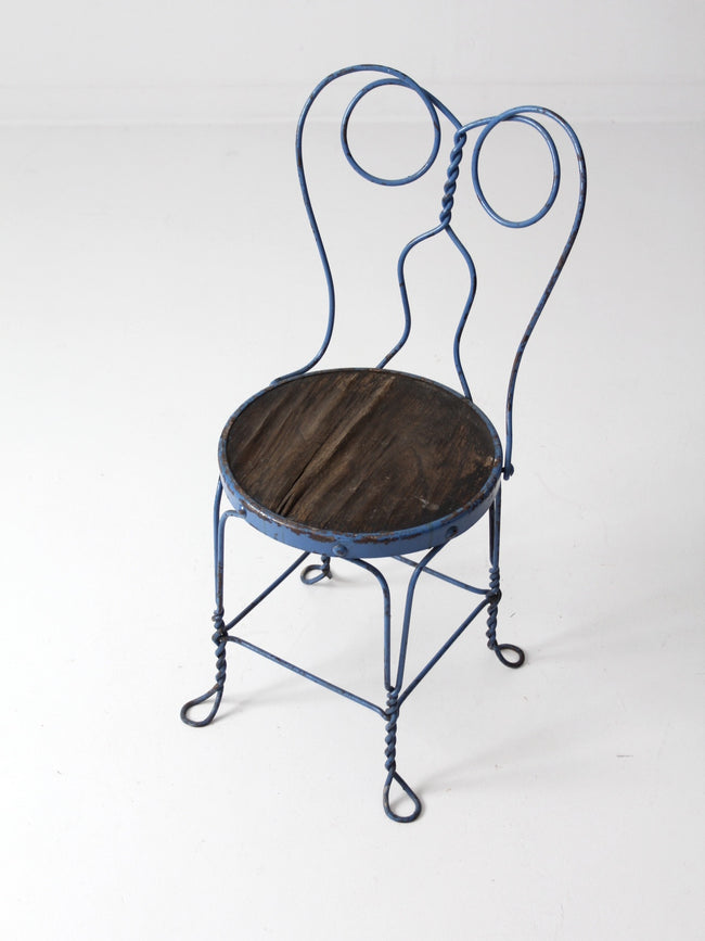 vintage blue ice cream parlor chair