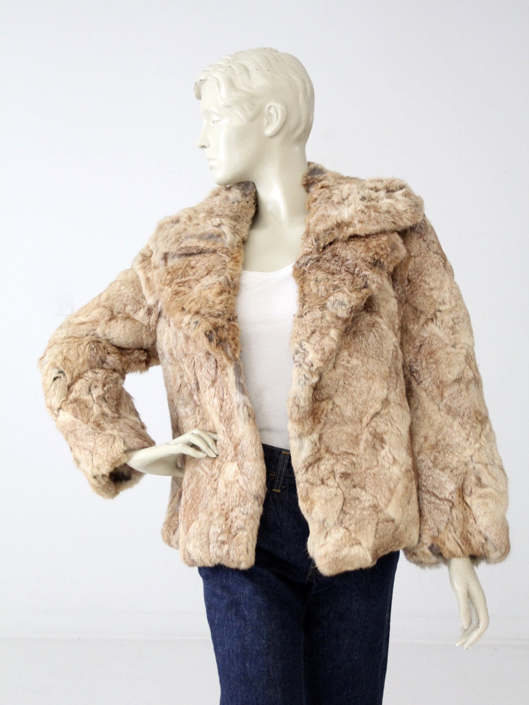 vintage 70s rabbit fur coat