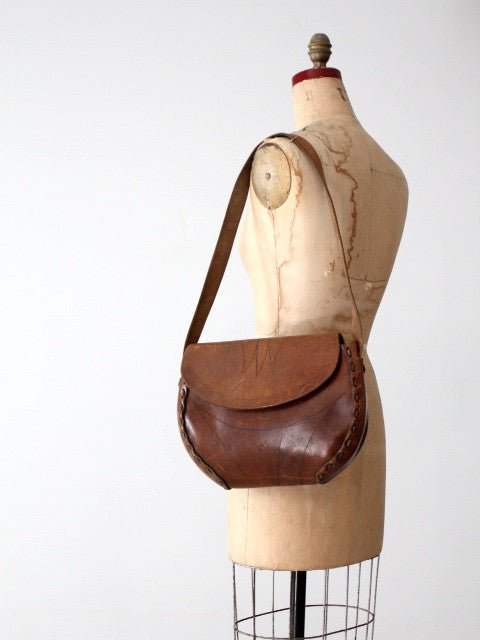 vintage 60s tooled leather shoulder bag