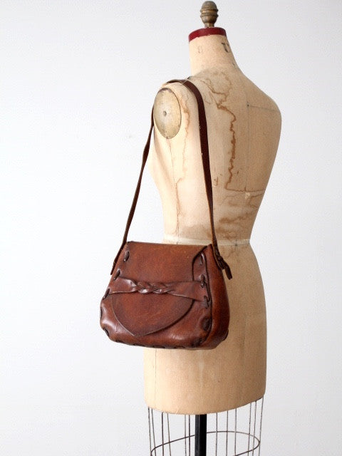 vintage 60s hippie leather handbag