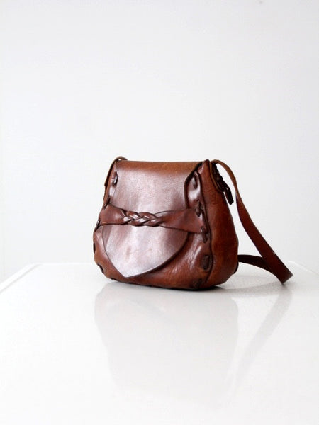 vintage 70s leather hobo bag