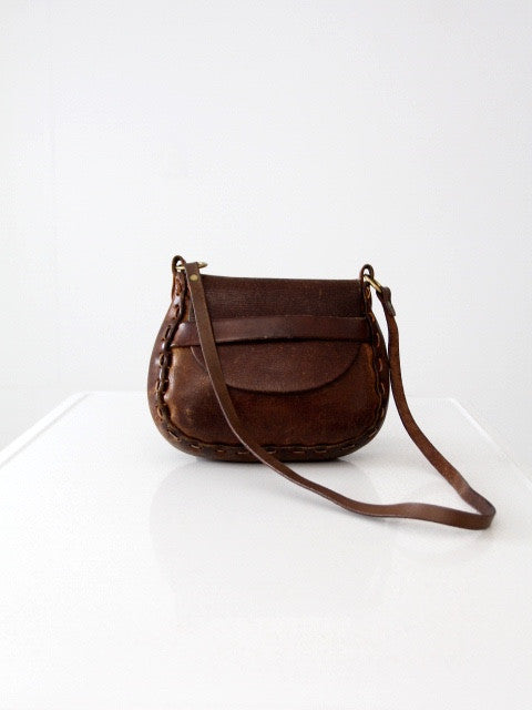 vintage 60s leather shoulder bag