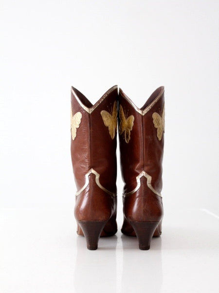 vintage Italian leather butterfly boots