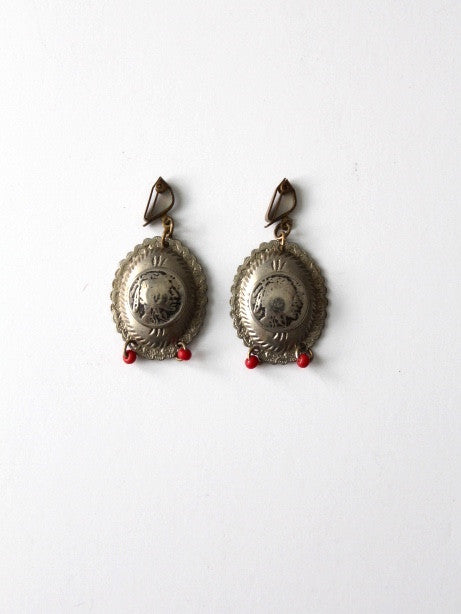 vintage southwest Indian Head coin drop earrings