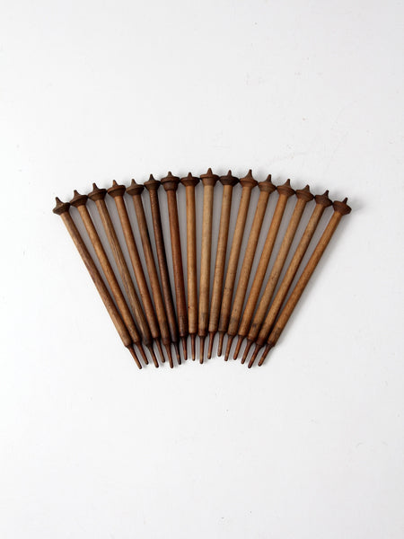 antique wood spinning needle collection