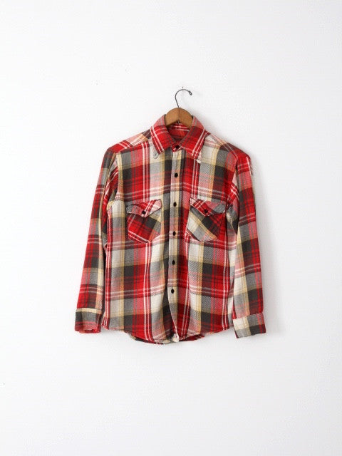 vintage 70s plaid flannel shirt