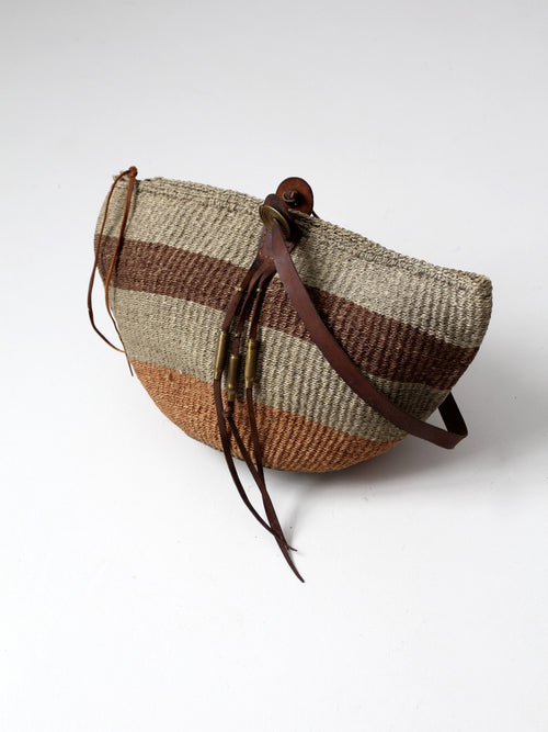 vintage sisal and leather tote bag
