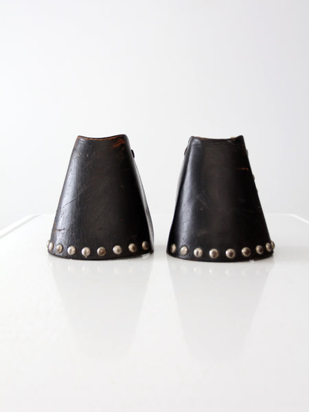 vintage tapaderos, leather hooded equestrian stirrups