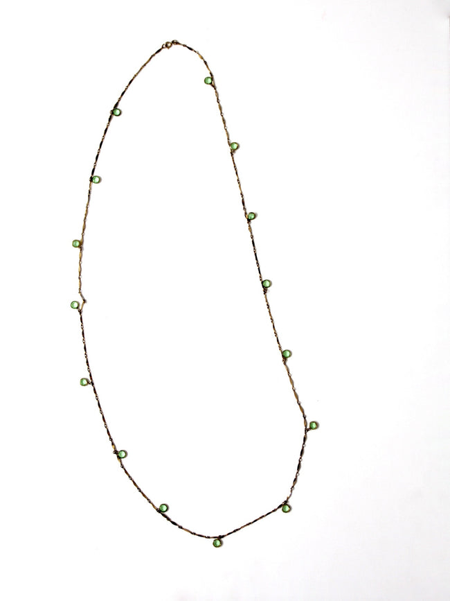 vintage gold link chain with pale green stones