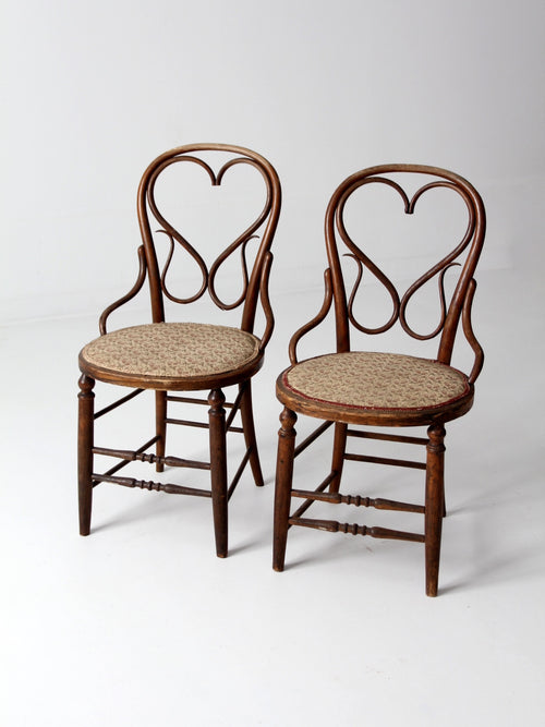 antique bentwood chairs with heart back - set of 2