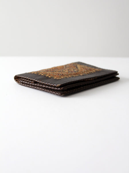 vintage tapestry and leather wallet