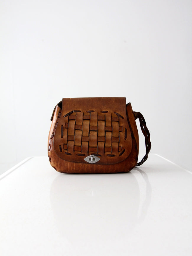 vintage 60s basket weave leather shoulder bag
