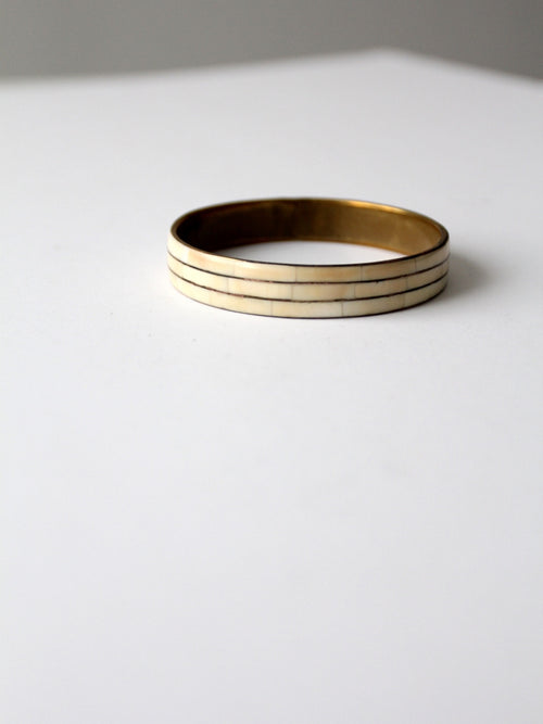 vintage 70s brass bangle bracelet with bone inlay