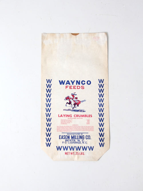 vintage Waynco Feeds paper farm bag