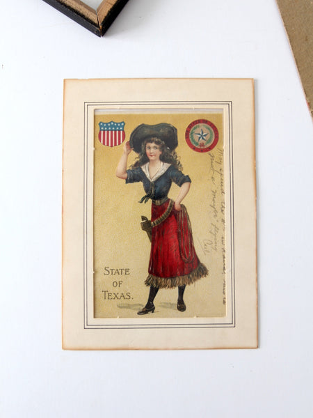 antique Texas postcard in frame