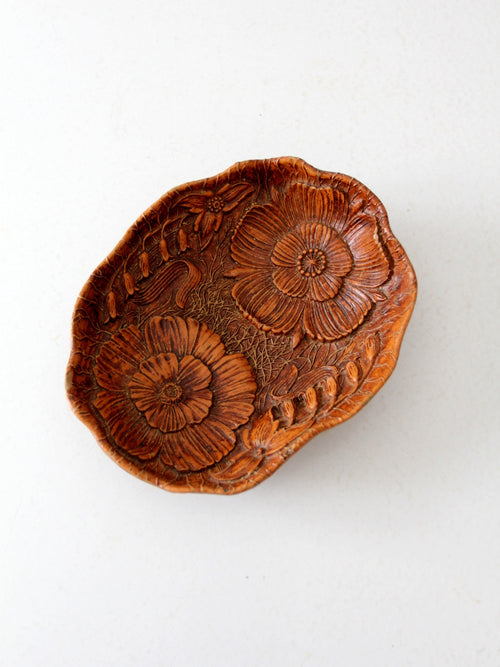 vintage floral cast wood bowl