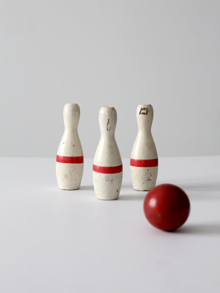 vintage bowling game with three pins