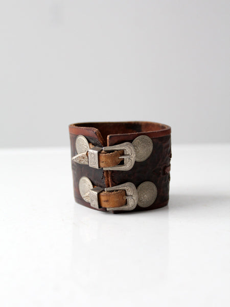 vintage 70s tooled leather cuff