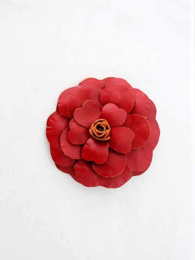 vintage 70s leather flower pin