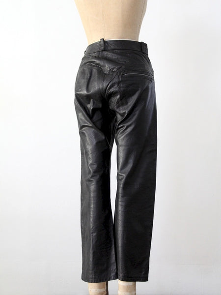 vintage black leather motorcycle pants, 32 x 26