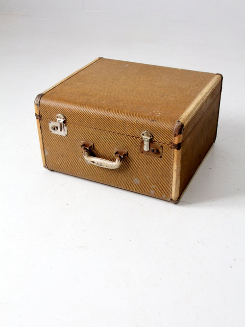 vintage square canvas suitcase