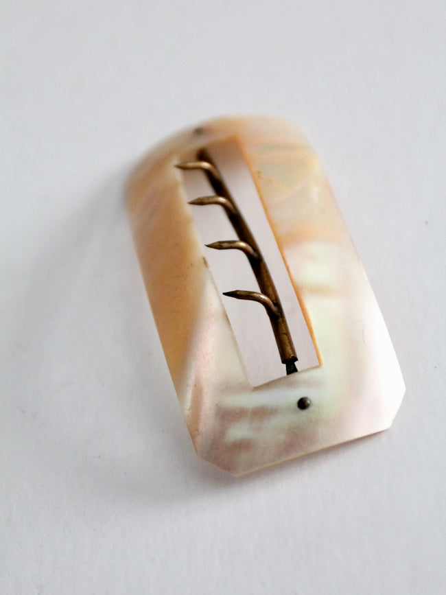 vintage mother of pearl hair brooch