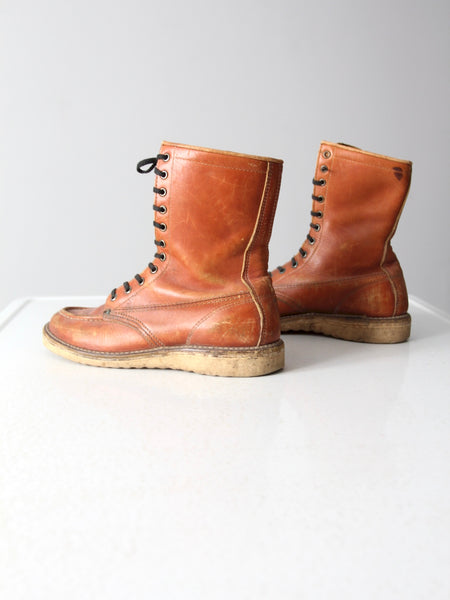 vintage women's lace up work boots - size 8