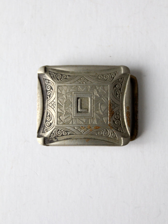vintage silverplate monogram buckle